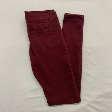 London Women's Skinny Jeans Size XS Burgundy Stretch Low Rise