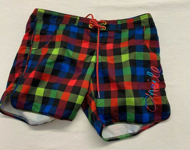 O'Neill Women's Board Shorts Medium Multicolored Plaid Polyester Mid Rise Shorts