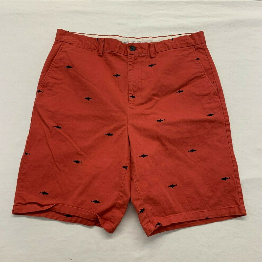 Old Navy Men's Khaki Shorts Size 38 Ultimate Slim Stretch Red shark print