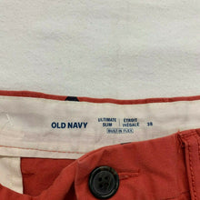 Load image into Gallery viewer, Old Navy Men's Khaki Shorts Size 38 Ultimate Slim Stretch Red shark print