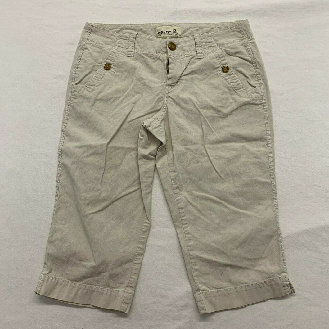 Old Navy Women's Capri Size 4 Beige Stretch Low Rise Flat Front Cropped