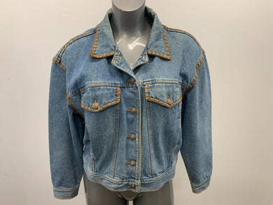 Palmer Jeans Women's Denim Jacket Size Small Vintage Long Sleeve Button Up Embro