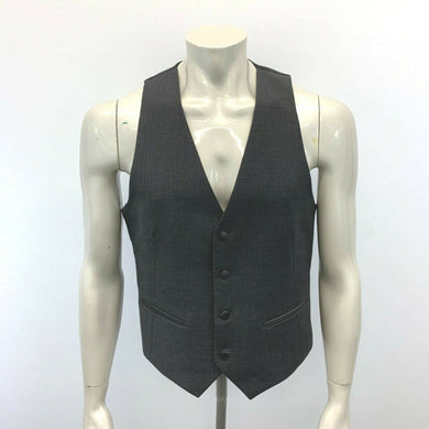 Perry Ellis Evening Suit Vest Men's Size Small Gray Pinstriped 4 Button Vest