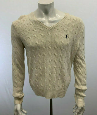 Polo Ralph Lauren Men's Cable Knit Sweater Large White V Neck Tussan Silk