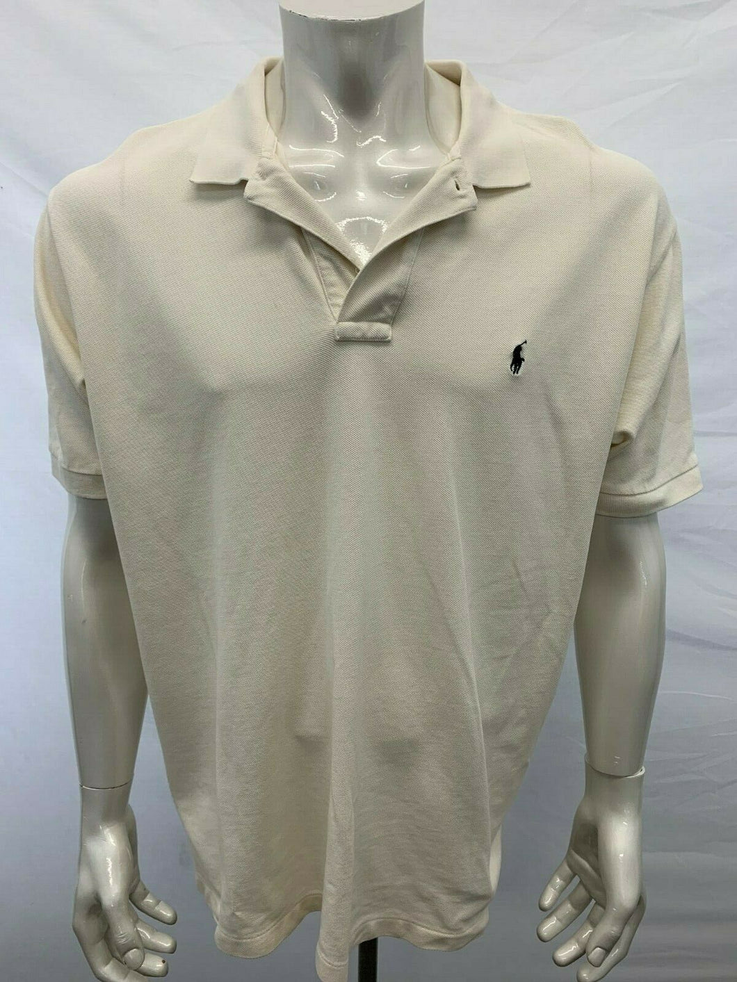 Polo Ralph Lauren Polo Shirt Men's Size XL Beige Short Sleeve Cotton Pique Pony