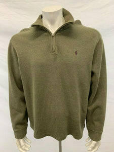 Polo Ralph Lauren Ribbed Long Sleeve Zip Up Men's XL Green Pullover Sweater