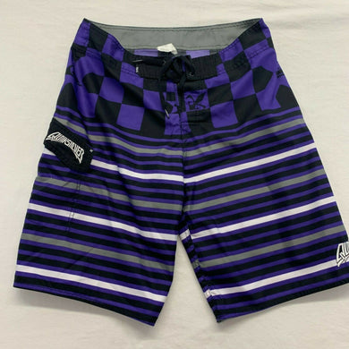 Quicksilver Board Shorts Men's Size 32 Purple White Striped Chekered Polyester S