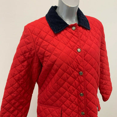 Tommy Hilfiger Women's Quilted Jacket Size Large Red Snap Button Up Long Sleeve