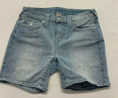 True Religion Blue Jean Shorts Womens Size 28 Stretch Flap Pockets Mid Rise