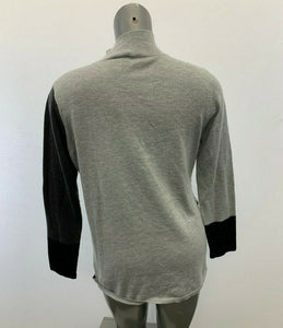 Vince Camuto Sweater Women's Medium Two Tone Gray Black Mock Pullover