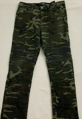 XRAY Jeans Girls Size 18 Green Brown Camouflage Skinny Leg Stretch High Rise