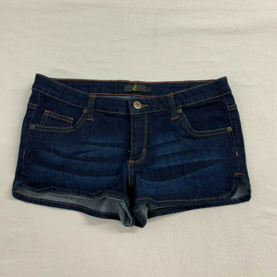 g21 Shorts Women's 7 Dark Wash Stretch Low Rise Cotton Blend Booty