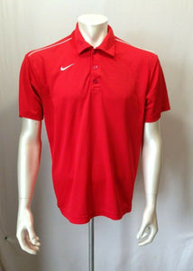 Nike Dri Fit Size Medium Polyester Red White Short Sleeve Men's Polo Shirt