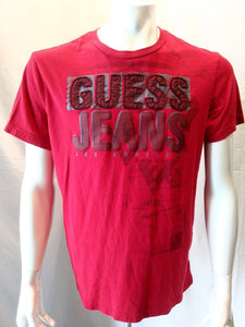 Guess Jeans Embroidered Spell Out Red S/S Crew Neck Men's T Shirt Size XL