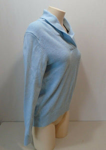 Tommy Hilfiger Baby Blue Long Sleeve Textured Pullover Women's Sweater Size L