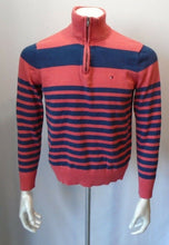 Load image into Gallery viewer, Tommy Hilfiger Blue Orange Striped Mock 1/4 Zip Mens Long Sleeve Sweater Size M