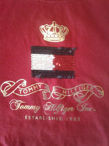 Tommy Hilfiger Red Long Sleeve Women's Beaded Front Flag Crew Neck T Shirt Sz XS