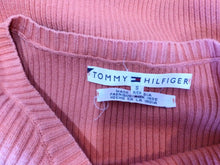 Load image into Gallery viewer, Tommy Hilfiger Orange V Neck Long Sleeve Women's Cotton Box Logo Sweater Size S