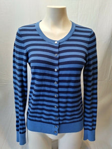 Tommy Hilfiger Blue Striped Pima Cotton Long Sleeve Womens Cardigan Sweater Sz S