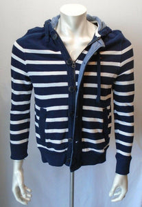 Tommy Hilfiger Blue White Striped L/S Button Down Hooded Sweatshirt Size XS