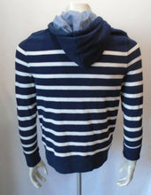 Load image into Gallery viewer, Tommy Hilfiger Blue White Striped L/S Button Down Hooded Sweatshirt Size XS