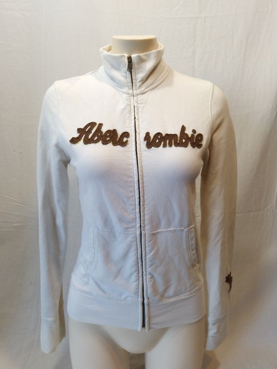 Abercrombie and Fitch Women's White Long Sleeve Full Zip Spell Out Jacket Size M