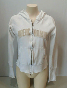 Abercrombie Hoodie Girls Size L White Long Sleeve Full Zip Hooded Sweatshirt