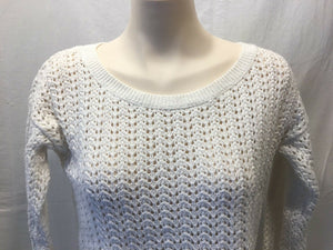 Hollister Women's White Crewneck Knitted Long Sleeve Cropped Sweater Size Medium