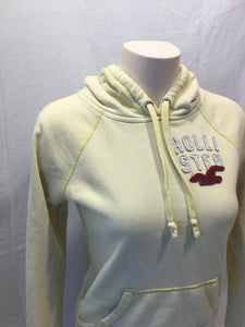 Hollister Hoodie Women's Yellow Embroidered Logo Pullover Hooded Sweatshirt M