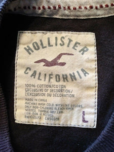Hollister Brown Embroidered Spell Out Men's Short Sleeve Crew Neck T Shirt Sz L