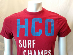Hollister HCO Surf Champs Red Short Sleeve Crew Neck Men's T Shirt Size Medium