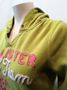 Hollister Hoodie Women's Green Long Sleeve Spell Out Hooded Sweatshirt Size M