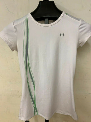 Under Armour Women's White Heat Gear T shirt small green gray stripes