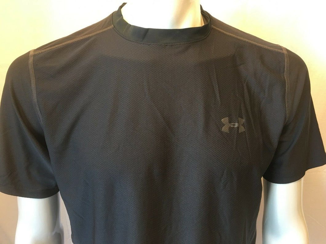 Under Armour Fitted Compression Heat Gear Men's Black Short Sleeve Shirt Size L