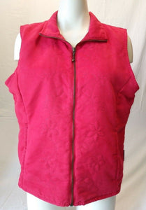 Columbia Red Full Zip Women's Sleeveless Vest Embroidered Floral Pattern Size L