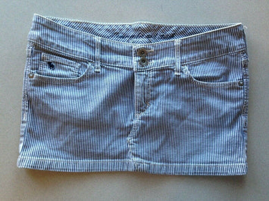 Abercrombie & Fitch Junior 00 Blue White Striped Stretch 5 Pocket Mini Skirt