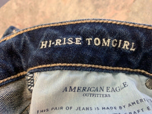 American Eagle Hi-Rise Tomgirl NWT Stretch X Womens 0 Denim Cotton Blend
