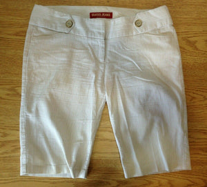 Guess Jeans Women's Size 33 Beige White Striped Low Rise Long Chino Shorts