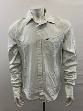 Load image into Gallery viewer, Hollister Green Striped Men's Large Long Sleeve Button Up Cotton Casual Shirt