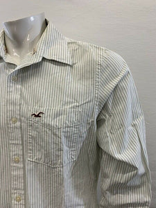 Hollister Green Striped Men's Large Long Sleeve Button Up Cotton Casual Shirt