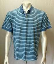 Load image into Gallery viewer, Tommy Hilfiger Men's X-Large Blue Striped Short Sleeve Casual Cotton Polo Shirt