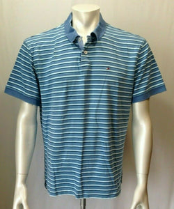 Tommy Hilfiger Men's X-Large Blue Striped Short Sleeve Casual Cotton Polo Shirt