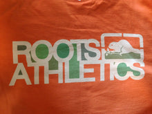 Load image into Gallery viewer, Roots Athletics Men's Medium Short Sleeve Crew Neck Graphic Orange T Shirt