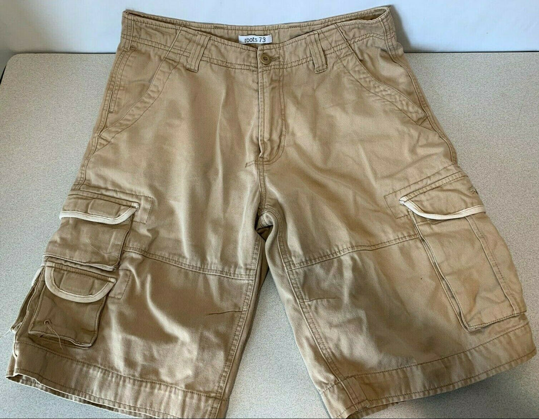 Roots 73 Men's Size 32 Cotton Beige Cargo Style Flat Front Zipper Fly Shorts