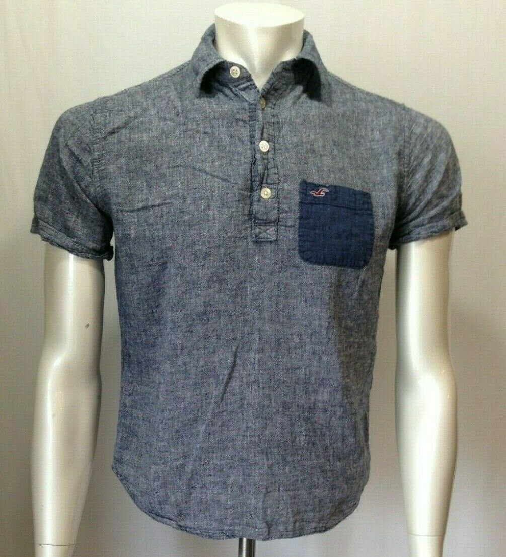 Hollister Men's Small Blue Short Sleeve Henley Neck Pullover Linen/ Cotton Shirt
