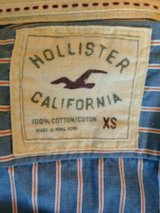 Hollister Men's XS Blue Red Striped Long Sleeve Button Up Cotton Casual Shirt