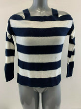 Load image into Gallery viewer, American Eagle Women's Small 3/4 Sleeve Cold Shoulder Blue White Knit Top NEW