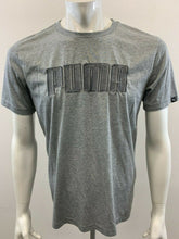 Load image into Gallery viewer, Puma Mens Medium Short Sleeve Spell Out Gray Embossed Crew Neck T Shirt