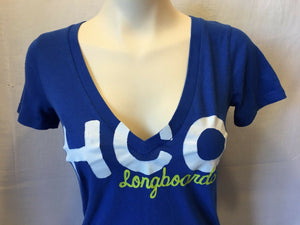 Hollister HCO Longboards Women's Blue V-Neck Short Sleeve T-Shirt Size Small