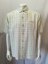 Load image into Gallery viewer, Tommy Bahama Men's Large Green Gray Plaid Short Sleeve Silk Button Down Shirt